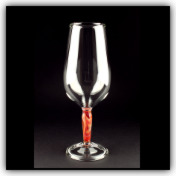 Marbled Stem Wine Glass Red