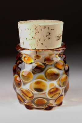 Large Polka Dot Jar Amber