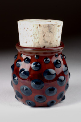 Large Polka Dot Jar Blue/Red